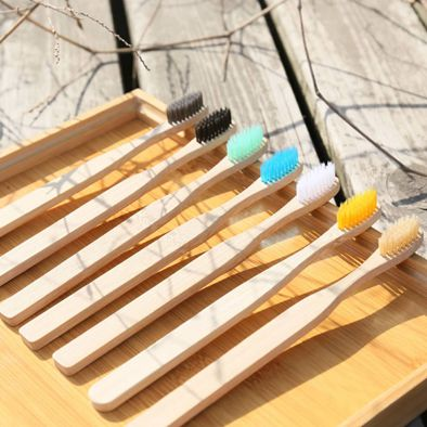 Eco friendly custom bamboo toothbrush plain handle