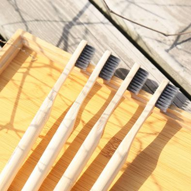 Private Label 100% Natural Biodegradable Charcoal Bamboo Toothbrush