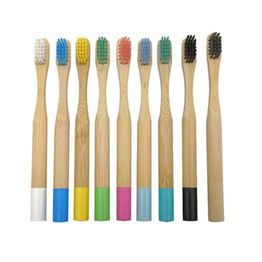 Round handle kids bamboo toothbrush accept customized
