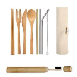 Eco-Friendly Reusable Bamboo Cutlery Set Ideal for Travel Eating Out Camping