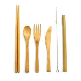 Eco-Friendly Bamboo Cutlery Set Reusable Travel Cutlery Knife Fork Spoon and Straw Wooden Cutlery Set