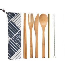 Premium Wooden Cutlery Set  Forks Knives and Spoons 100% Biodegradable Bamboo Cutlery