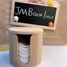 JM Bamboo Box For Makeup Remover Cotton Pads No Plastic